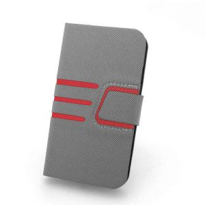 For Samsung Galaxy S4 I9500 Credit ID Card Slot Holder PU Leather Stand Case Cover With Auto Wake-Up Grey