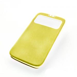 Front Hollow Luxury PU Leather Stand Case Cover for Samsung Galaxy S4 (I9500) Yellow
