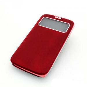 Front Hollow Luxury PU Leather Stand Case Cover for Samsung Galaxy S4 (I9500) Red