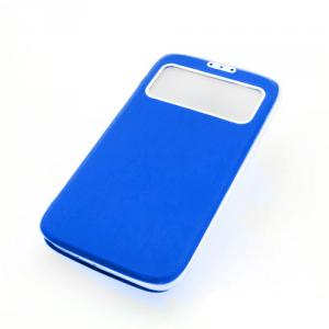 Front Hollow Luxury PU Leather Stand Case Cover for Samsung Galaxy S4 (I9500) Blue