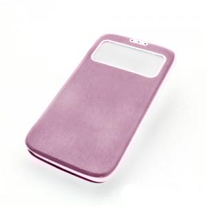 Front Hollow Luxury PU Leather Stand Case Cover for Samsung Galaxy S4 (I9500) Pink