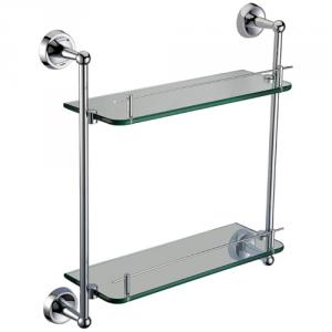 Exquisite Brass Bathroom Accessories Double Glass Shelf