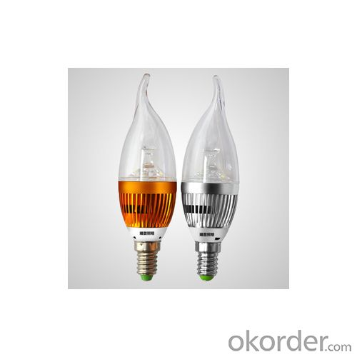 LED Bent-tip Bulb High Quality Gloden Aluminum 3x1W E14 180lm 85 to 265V LED Candle Bulb Light Spotlight Downlight
