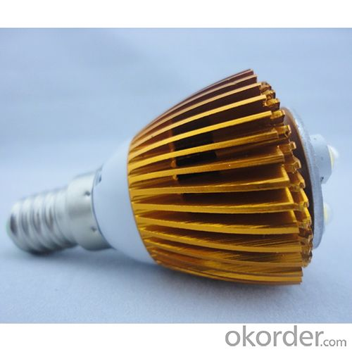 LED Bent-tip Bulb High Quality Gloden Aluminum 1x3W E14 180lm 85 to 265V LED Candle Bulb Light Spotlight Downlight