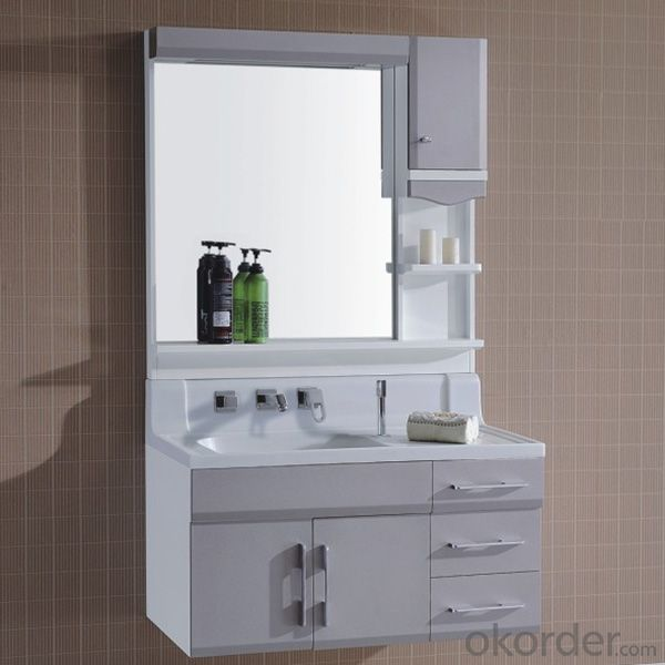 Pvc Bathroom Cabinet With Mirror And Basins