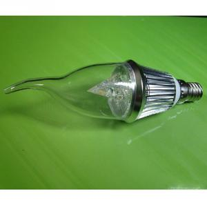 High Quality Dimmable LED Bent-tip Bulb Silver Aluminum 3x1W E14 180lm Candle Bulb Light