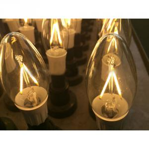 LED Filament Lamp 360°Bent-tip Candle Bulb E14 2W AC110V/220V 200-225lm Warm White/White