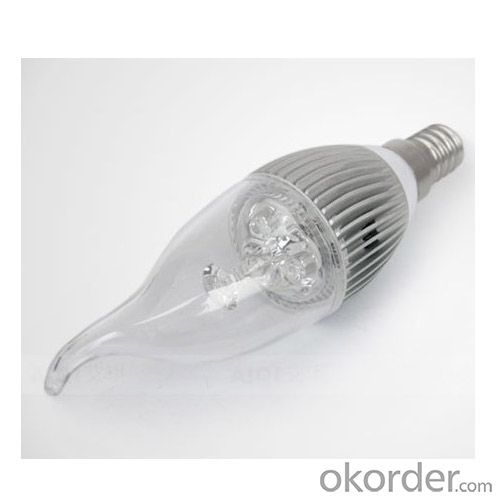 Newest Dimmable LED Bent-tip Bulb High Quality Silver Aluminum 1x3W E14 LED Global Bulb Light