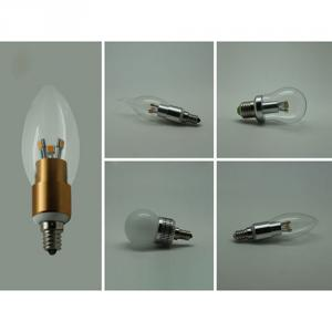 Dimmable LED Candle Bulb High Quality Silver Aluminum 5W Ra85 E14 380lm 85-265V LG SMD LED Chip Clear/Frosted/Milky Glass Cover