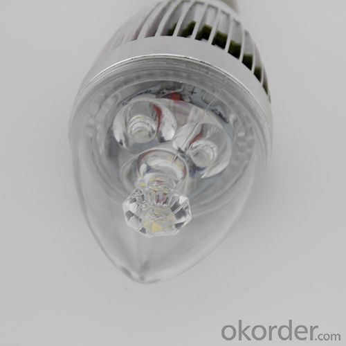 High Quality  Dimmable LED Candle Bulb Silver Aluminum 4x1W E14 180lm LED Global Bulb Light