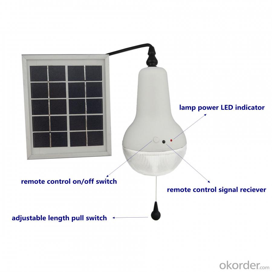 China Factory High Quality Wireless Remote Control Solar Lamp 150lm 220lm 360lm Solar Bedroom Light Blue