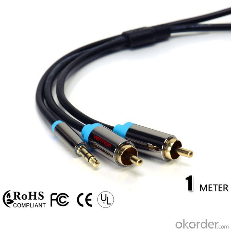 Vention Black Dual Rca Cable To 3.5Mm Aux Audio Cable 1M 3 Ft