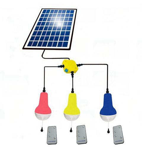 China Best Solar Power LED Light With Remote Control Solar Lamp 3 Lamps With Remote Control With 5W 5V Solar Panel