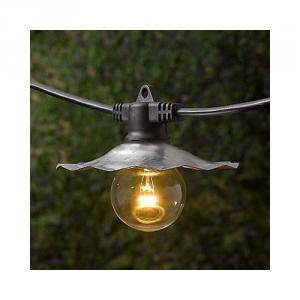 European Cafe Commercial String Lights With Galvanized Shades