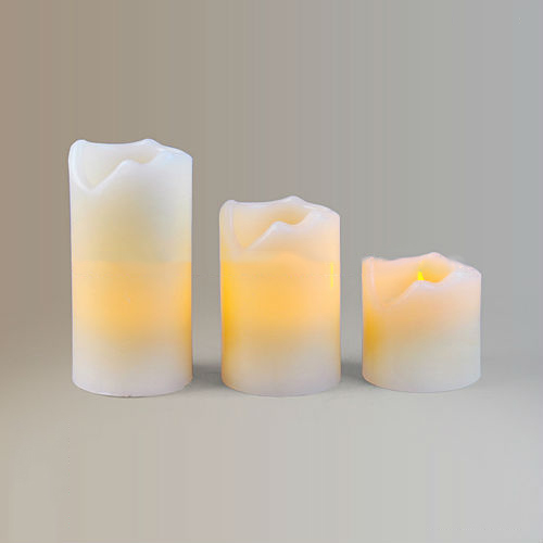 Set Of 3 Led Small Flameless Real Wax Candle