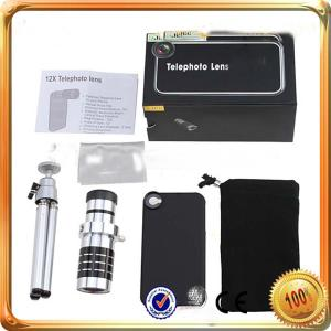 Optical Zoom Telephoto Lens For Ipad Mini With Case 12X Zoom Telescope Camera Telephoto Lens+Mini Tripod+Back Case For Iphone 5