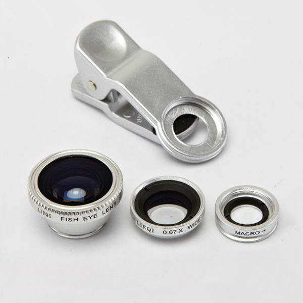 Universal Clip Fish Eye Macro Lens 3 In 1 Clip Mobile Phone Lens, 180 Degree Fisheye Camera Lens