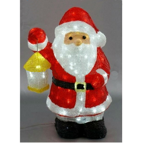 Animated Led Outdoor Acrylic Santa Claus With Lantern Decoration