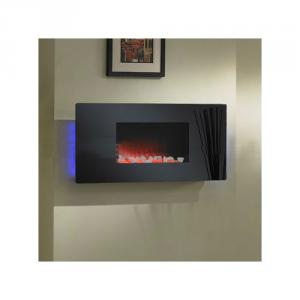 Electric Fireplace with LED Wall Mounted Black Glass