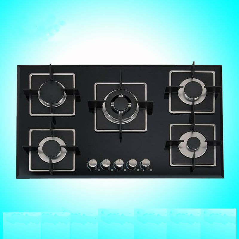 Gas Cooker Made of Tempered Glass with 5 Burners