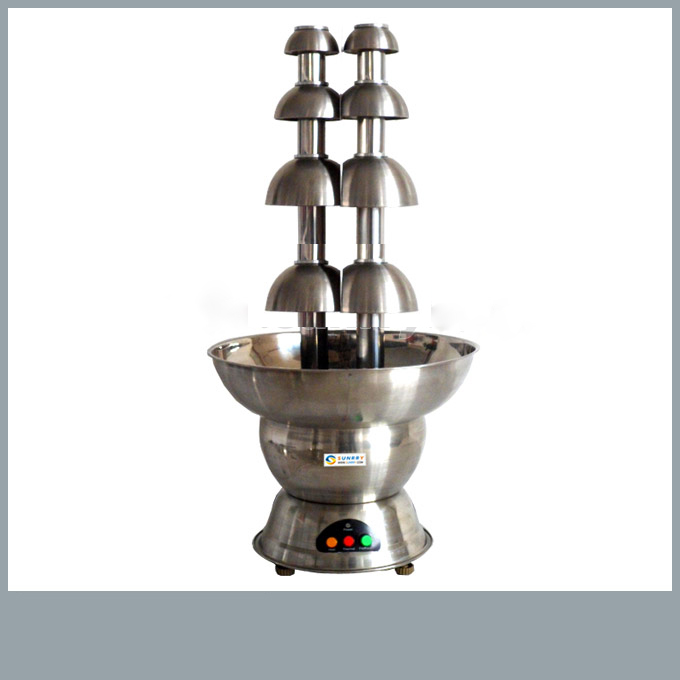 Double Chocolate Fountain With 2 Heads And 4 Layers Stainless Steel 304 Basecommercial Chocolate Fountain