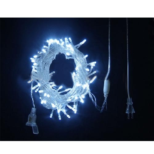 White Led Christmas Light With Transparent Wire Steady On