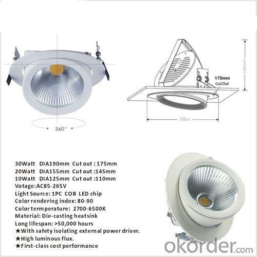 Hot Selling 30watt COB Adjustable Led Downlight