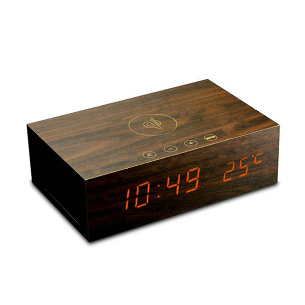 2014 China Supplier New Wood Bluetooth Speaker With Clock Qi Wireless Charging Function Support Custom Order
