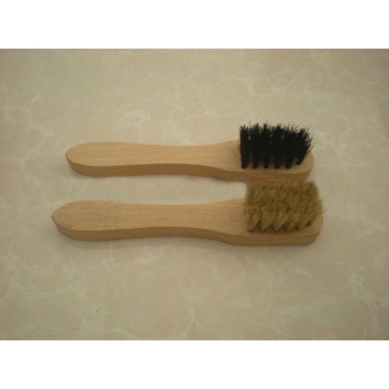 Wooden Pig Hair Shoe Polish Brush