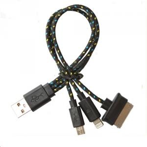 Nylon 3 In 1 Cable For Iphone5,For Iphone4/4S For Ipad Mini, For Micro