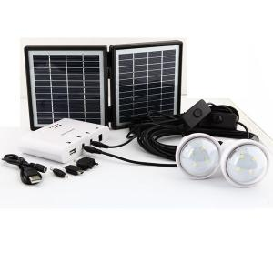 3.4w Solar Lighting System With Mobile Charge 3.4W Solar Panel 2600mah Battery 2 LED Globe Bulbs