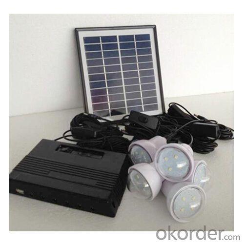 4W Solar Lighting System With Mobile Charge 4W Solar Panel 5200MAH Lithium Battery Black CE ROHS
