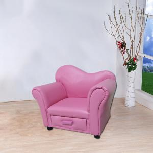 Princess Style Children's Sofa with Grid PU Leather Comfortable