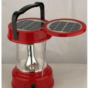 China Factory Solar Lantern With FM Radio Double Solar Panel Charge AC Charge Optional Red