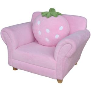 Cute Pink Strawberry Shape Kids' Sofa with Pillow Non-toxic Fabric