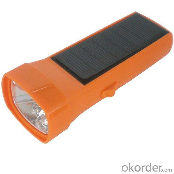 By China Manufacturer Rechargeable Solar Flashlight Solar Torch 1.7w 2200mah li ion lithium Battery Orange