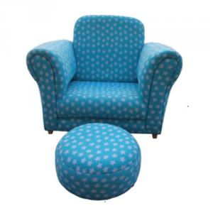 Star Pattern Blue Kids' Sofa Single Seat Eco-friendly High-elastic Foam