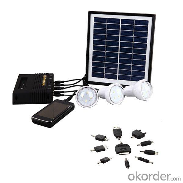4W Solar Lighting System With Mobile Charge for iPhone 4W Solar Panel 4000mah Lithium Battery Black CE ROHS