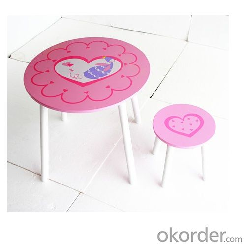 pink children girl cartoon table and stool sets