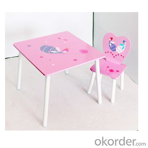 Girl Pink Fairy Design Cartoon Wooden Table Chair Set