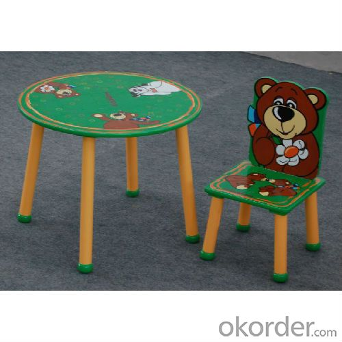 3d green wooden table chair set