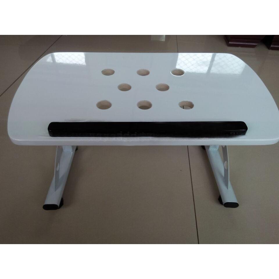 Foldable Height Adjustable Wood Bed Rolling Laptop Desk