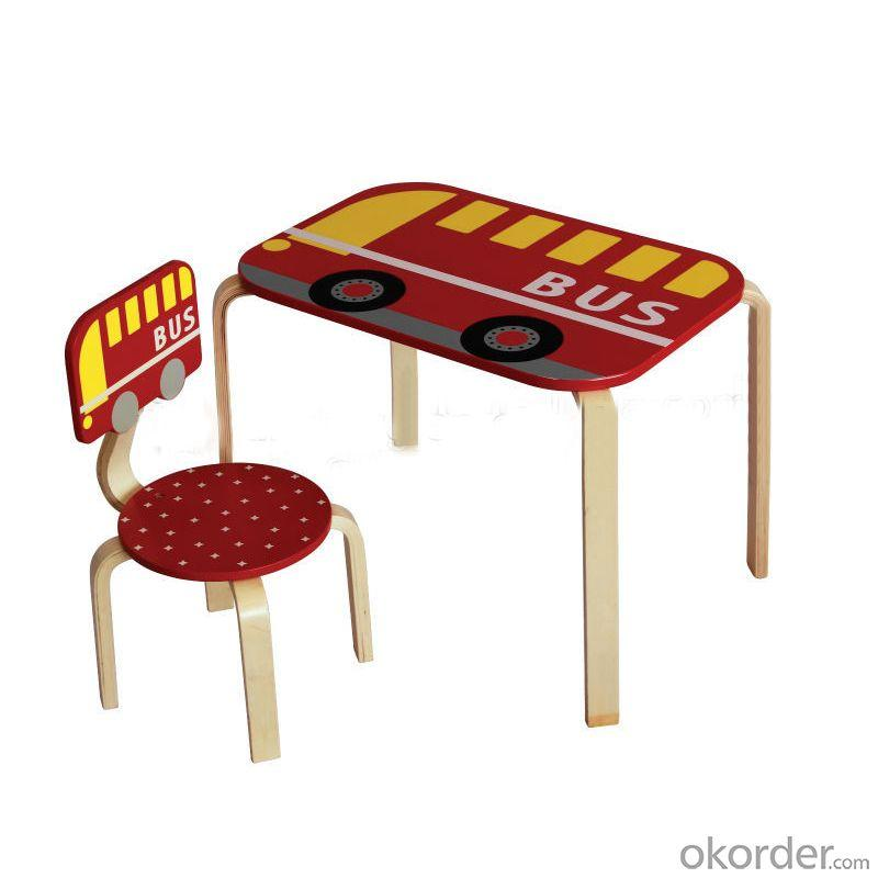 2014 Hot Sale Cartoon Red Bus Wood Kids Table Chairs Grass Green