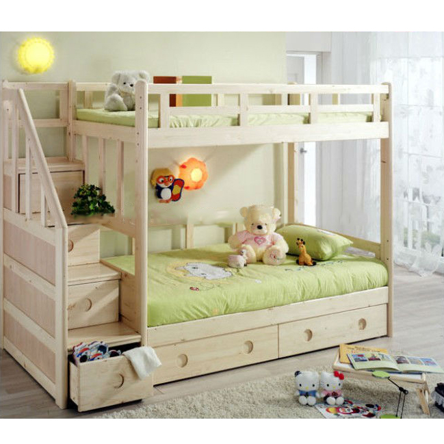 King Size Wooden Bunk Bed With Stairs