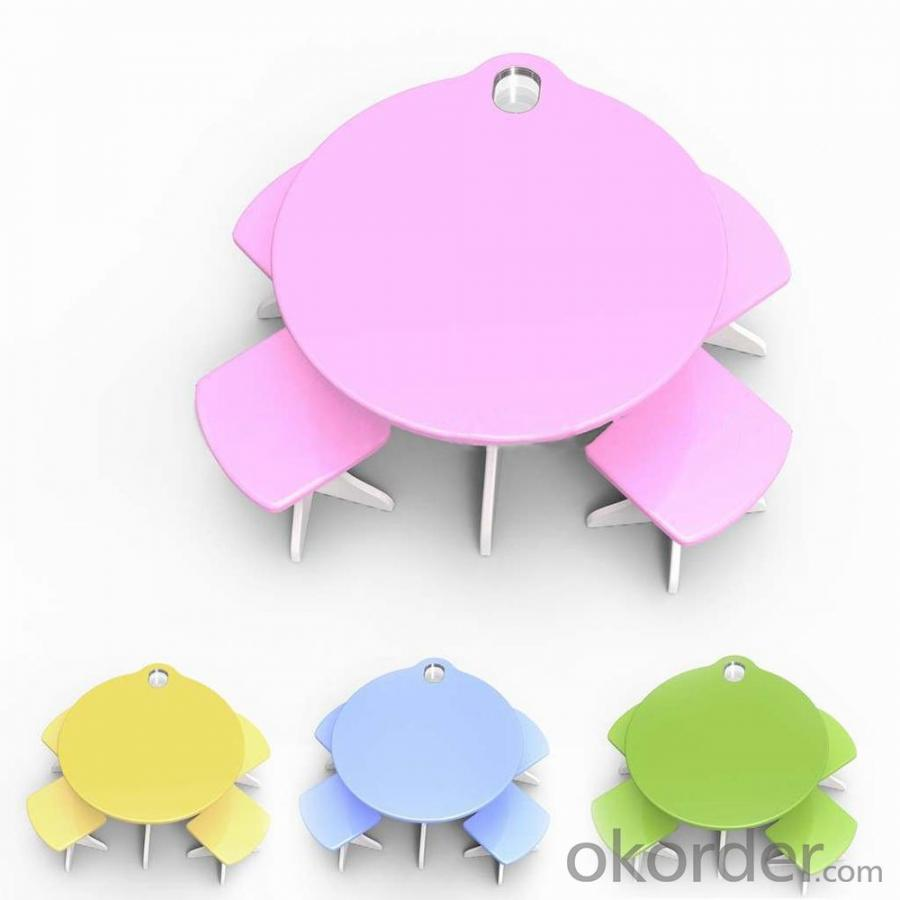 Pink Cat Animal Shape Kids Study Furniture Set