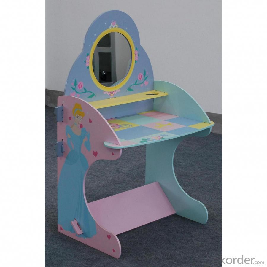 China Manufacturer Vintage Pink Girl Children Wooden Dressing Desk With Mirror And Stool