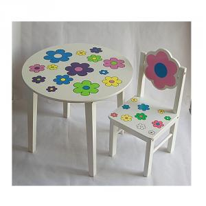 Cartoon Flower Pattern White Pine Wood Children Table Round Study Table, Dinning Table