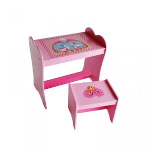 China Manufacture Wooden Easy Assembled Children Table Cute Cartoon Study Desk With Stool Pink