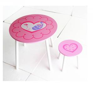China Manufacturer Popular Pink Cartoon Children Table With Stool, Children Cartoon Study Table