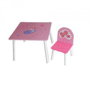 Preschool Pink Fairy Cartoon Wooden Table Chair Set For Playroom Dinning And Studying By China Manufacturer